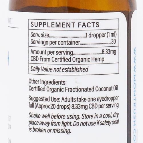 MONTKUSH Natural CBD Oil-250mg Supplement Facts